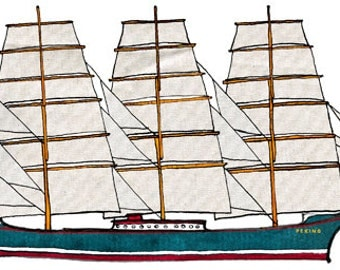 Peking: ship print / nautical illustration