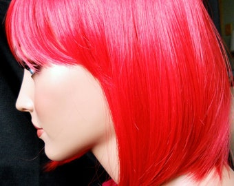 Scarlett // Red Chin Length Bob Full Synthetic Red Wig