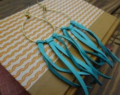 Long Turquoise Leather & Brass Fringe Earrings