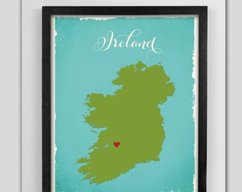 Ireland Custom Wedding Print Destination Wedding Gift  Memento Marriage Couple print alternative Signature Guest Books Wedding Signature Map
