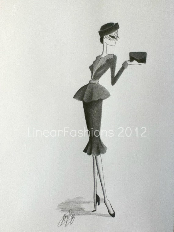 Fashion Illustration 1950s Gray Suit Art Decor