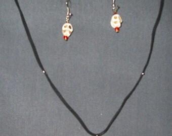 White Howlite Skull bead necklace and earring set