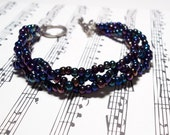 Blue Czech Glass Braided Bracelet Vintage Made TANGLED UP in BLUE Bob Dylan Inspired