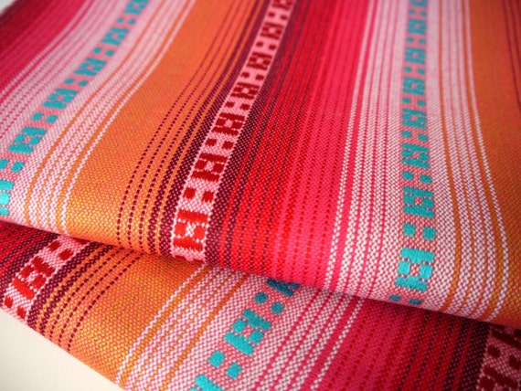 South American Fabric, Peruvian Fabric, Woven, Coral Pink Stripes, 1 Yard