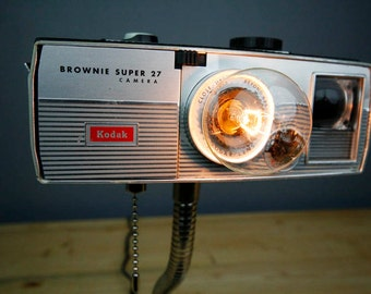 Upcycled Camera Lamp - Kodak Brownie Super 27