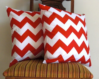 Red pillow throw 20 x 20 modern bold white red crimson scarlet Riley Blake chevron zig zag cotton Handmade Decorative Set of TWO