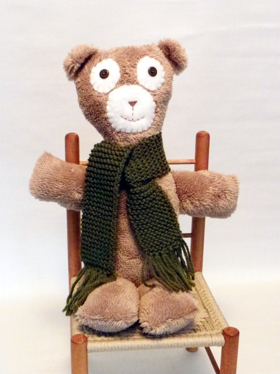Plush Teddy Bear with Button Eyes and Hand Knit Scarf