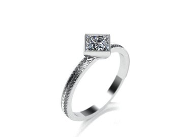 hand engraved princess cut diamond ring