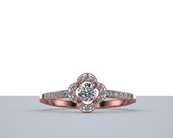 Dainty Diamond Engagement Ring with Halo in Rose Gold