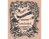Something Wonderful - Print of Original Papercut - Inspirational Quote - 8x10 Print - SarahTrumbauer