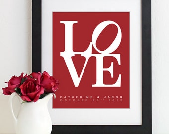 Valentines Day Gift - LOVE Print Wedding Bridal Shower Gift Personalized Anniversary Gift Art Print For Couples Housewarming Gift