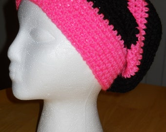 Hot Pink and Black Slouchy Hat