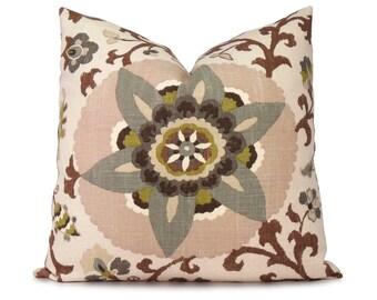 Suzani Floral Pillow Cover Blue, Olive & Brown - Decorative Pillow - Accent Pillow - Throw Pillow - 18x18 20x20 22x22 or Lumbar