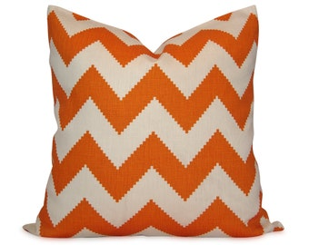 Jonathan Adler Orange Chevron Decorative Pillow Cover  - Throw Pillow - Accent Pillow - 18x18, 20x20, 22x22 or Lumbar Sizes