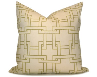 Thom Filicia City Squares Pillow Cover - Modern Green Ivory in Trellis Decorative Pillow - Lumbar and Square Sizes