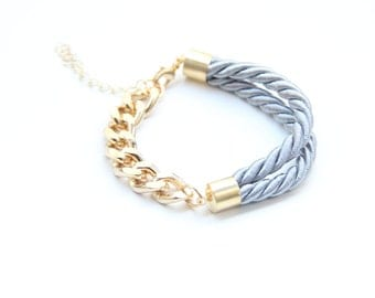 Half and Half: Gold chunky chain and Grey Bracelet - 24k gold plated