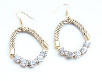 ON SALE! Love Rocks earrings - rhinestones and silk cord - 24k gold plated