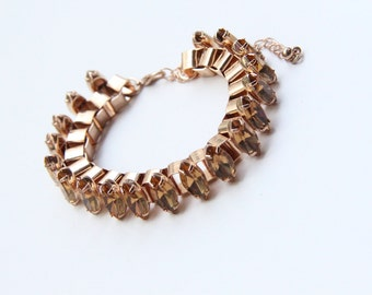 ON SALE! Arm Candy - Brown stones and Gold chunky chain Bracelet - 24k gold plated