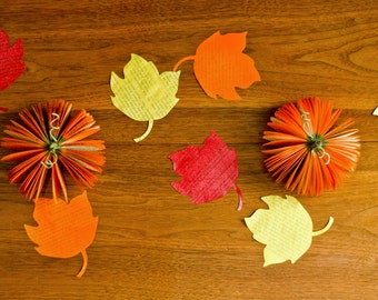 Autumn and Thanksgiving Table Decoration - Set of 12 Book Page Leaves - Yellow, Red, Orange Maple Leaf - Eco Friendly Fall Home Decor