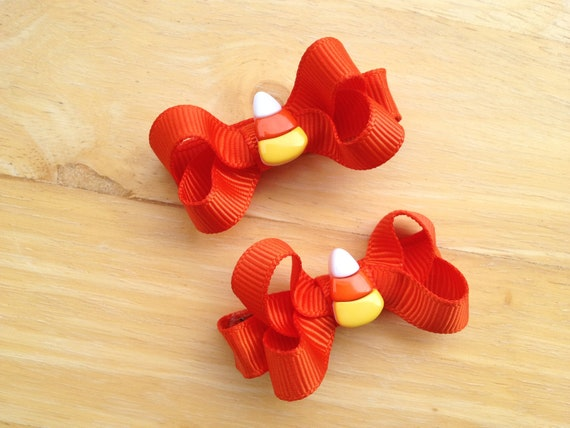 Small Halloween hair bows - candy corn hair bows, orange hair bows