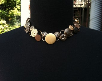 Stunning Gold-Tone Button Collar