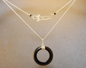 Black onyx circle on chain Necklace 151