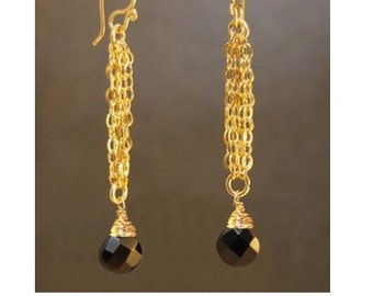 Chain earrings with Black Spinel Venus 125