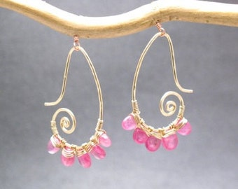 Hammered curled earrings with Pink Sapphire Luxe Bijoux 54