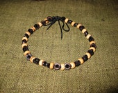 Anklet Handmade Nature Coconut Beads in Thailand Fair Trade Jewelry Adjustable  (AK017-BKW)