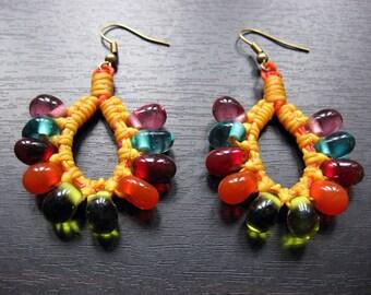 Earrings Bubble Beads Drop Handmade in Thailand FAIR TRADE Wax Cotton String (E042-Y)