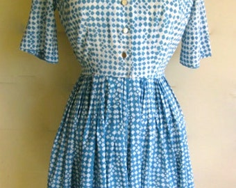 Vintage 1950s Blue Mosaic Rayon Dress - M