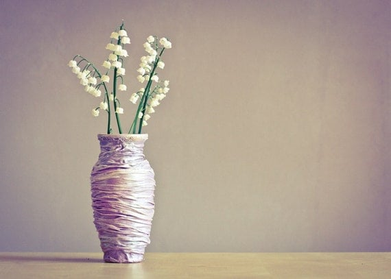Lily of the Valley Flowers and Pink Vase Photograph, Still Life Photography Pastel Pink Rhapsody Purple Rose Smoke 5x7