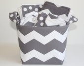 Chevron baby gift basket, Burp cloth set, Wash cloth set, bib and  fabric storage bucket.