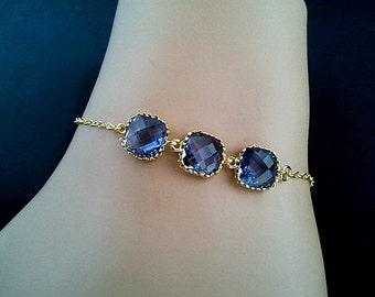 Blue Sapphire Gold Bracelet -Bangle Bracelet,Friendship bracelet, Charm Bracelet, wedding bracelet,christmas Bracelet, cocktail jewelry