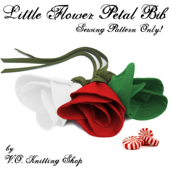 SEWING PATTERN ONLY - Little Flower Petal Bib for Christmas - Infant Baby Toddler Size