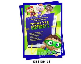 Super Why Invitation - PBS Super Why Birthday Invitation - Birthday Party Printable Invitation - Photo Option -- 2 Design Options