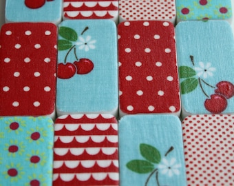 Magnents- Merry Set of 12 Reclaimed Dominos: Retro Inspired Cherries,  Retro, Red and Aqua, Cherry