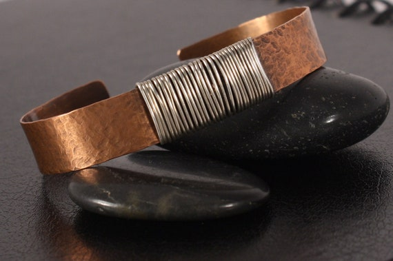 Copper and Sterling Silver Cuff - Hammered Texture - Wire Wrapped - Fall Accessory