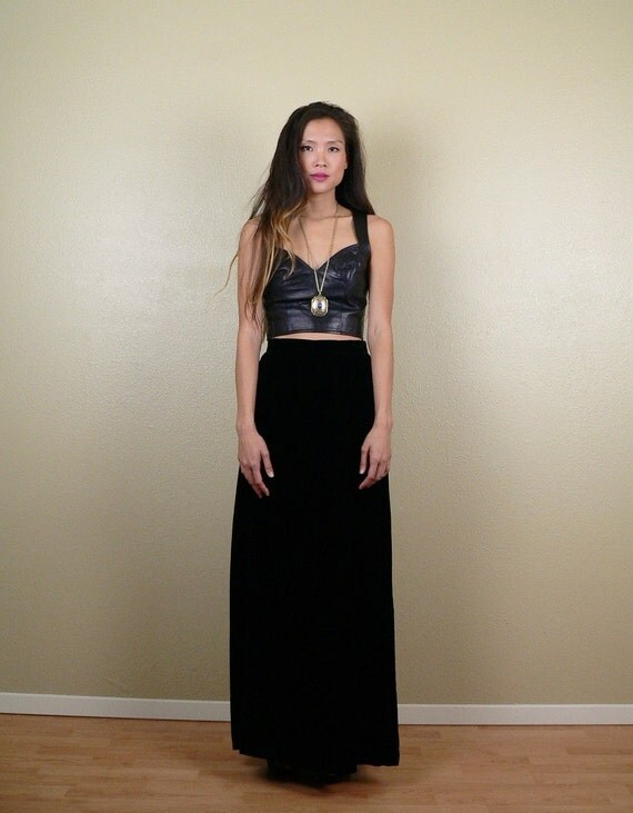 black velvet high waisted maxi skirt small