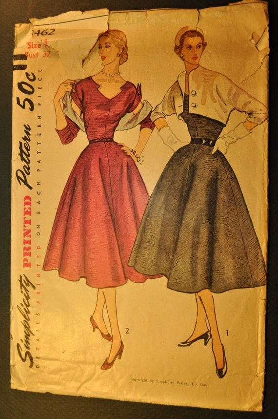 Misses' Evening Dress and Reversible Bolero Size 14 Bust 32 Vintage 1950s Sewing Pattern-Simplicity 8462