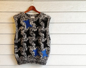 vintage 80s sweater vest in chunky knit with abstract houndstooth in black & blue. retro clothing.