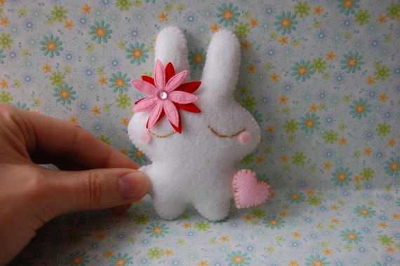 White bunny rabbit cute stuffed toy doll lovely Christmas gift