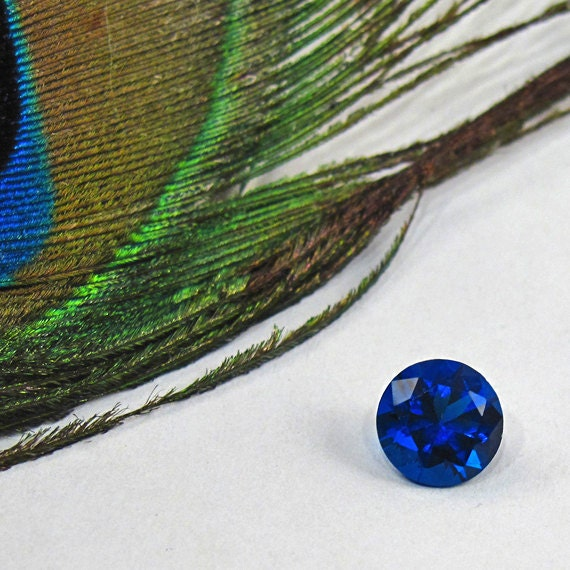 CZ Sapphire 7 mm Round - Lab-Created Faceted Gemstone - Brilliant Blue CZ