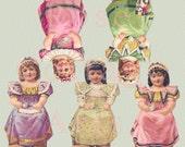 Digital Download 'Let's Have a Tea Party'  Antique Die Cut Paper Dolls Victorian Scrap Graphic Images