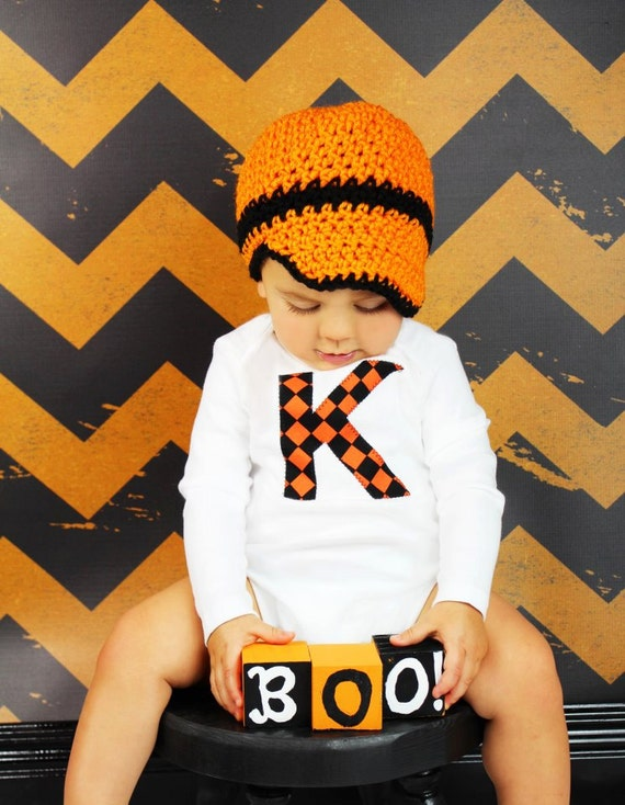 Baby Boy Halloween/Fall one piece bodysuit and crochet hat with custom initial, black and orange, photo prop, Trick or Treat, 1st Halloween