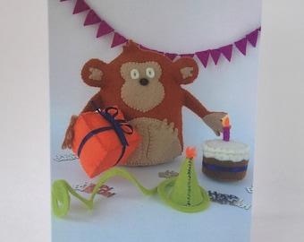 Happy Birthday Card Chestnut Monkey animals zoo fun celebration party