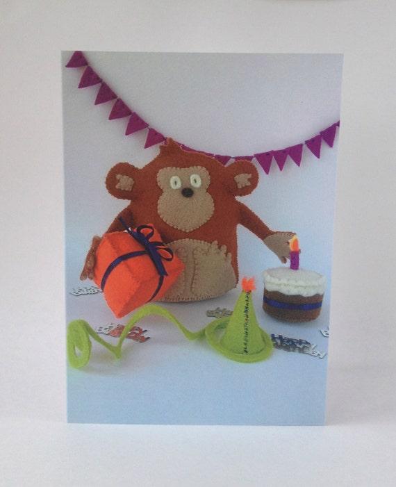 Items Similar To Happy Birthday Card Chestnut Monkey