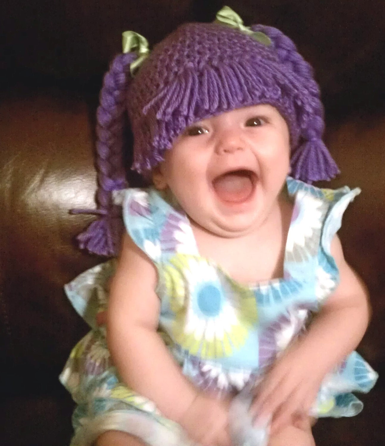 Baby Girl Adorable Cabbage Patch Crocheted Hat Complete With