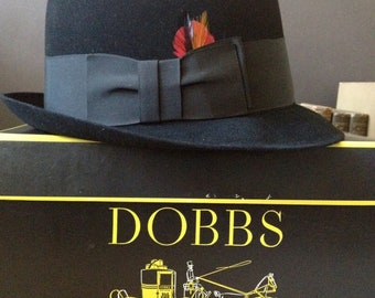 Dobbs Black Fedora Hat New York Original Hat Box Size 7