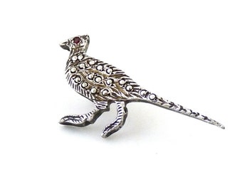 Sterling Silver Marcasite Pheasant Bird Pin Tie Tack